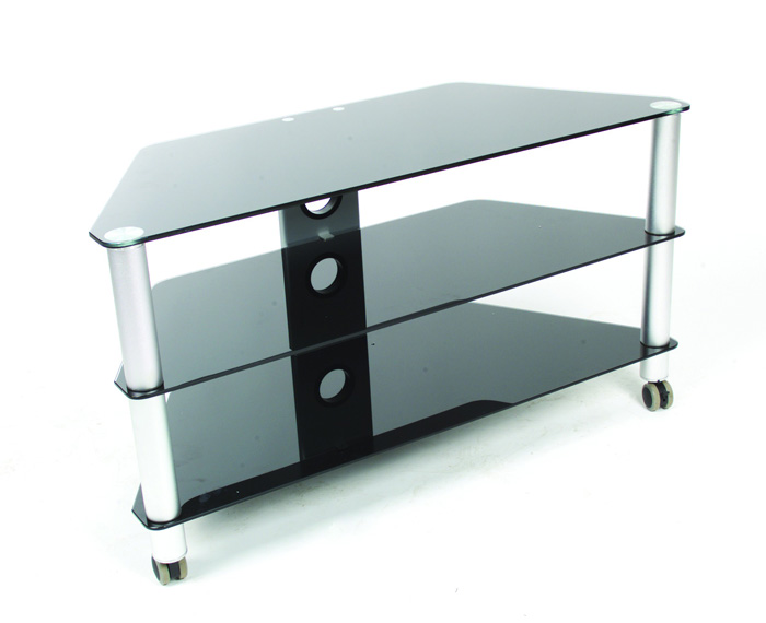 TV Table Glass W/Wheels. Features